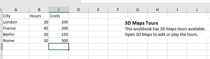 3D map data screen shot insert tab