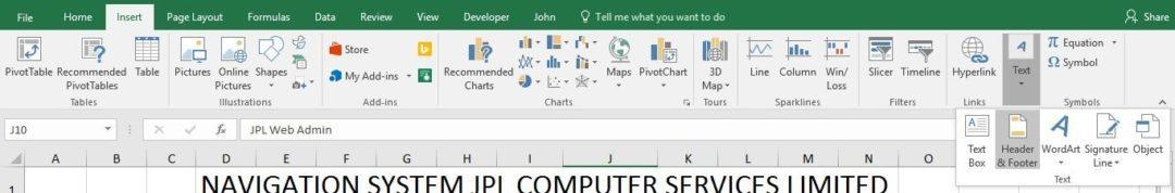 Header and Footer screen shot insert tab