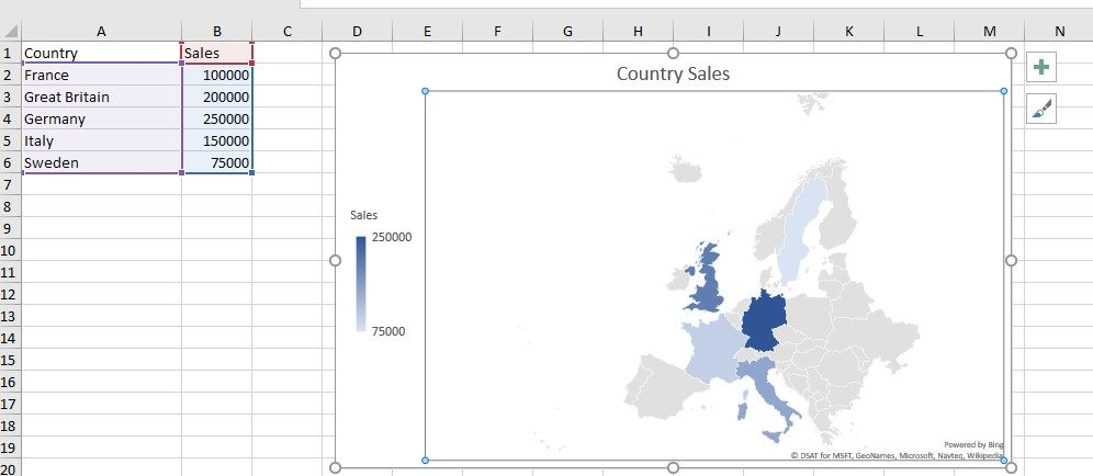 Maps Charts screen shot insert tab