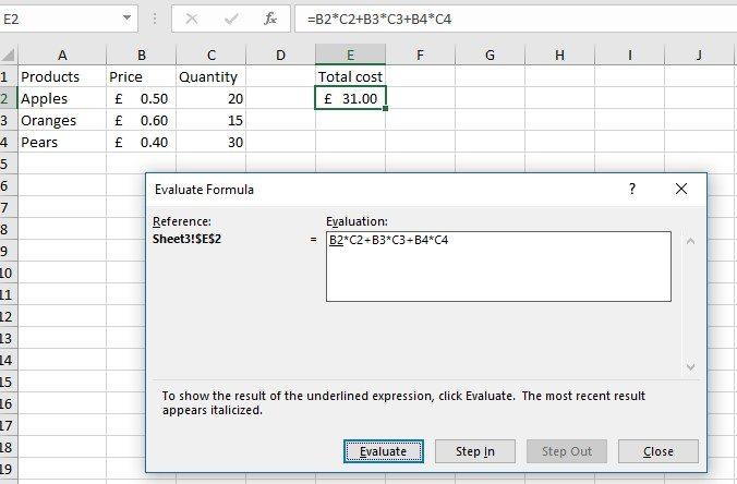 Excel worksheets Evaluating a Formula image