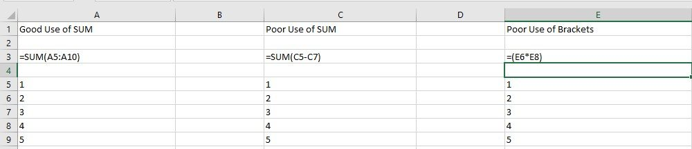 helpful Excel shortcuts - Screen shot of using SUM and brackets in Excel
