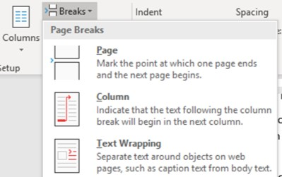 Microsoft Office training Worcestershire - Inserting a column break image