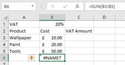 Excel meaning - #NAME? error message image