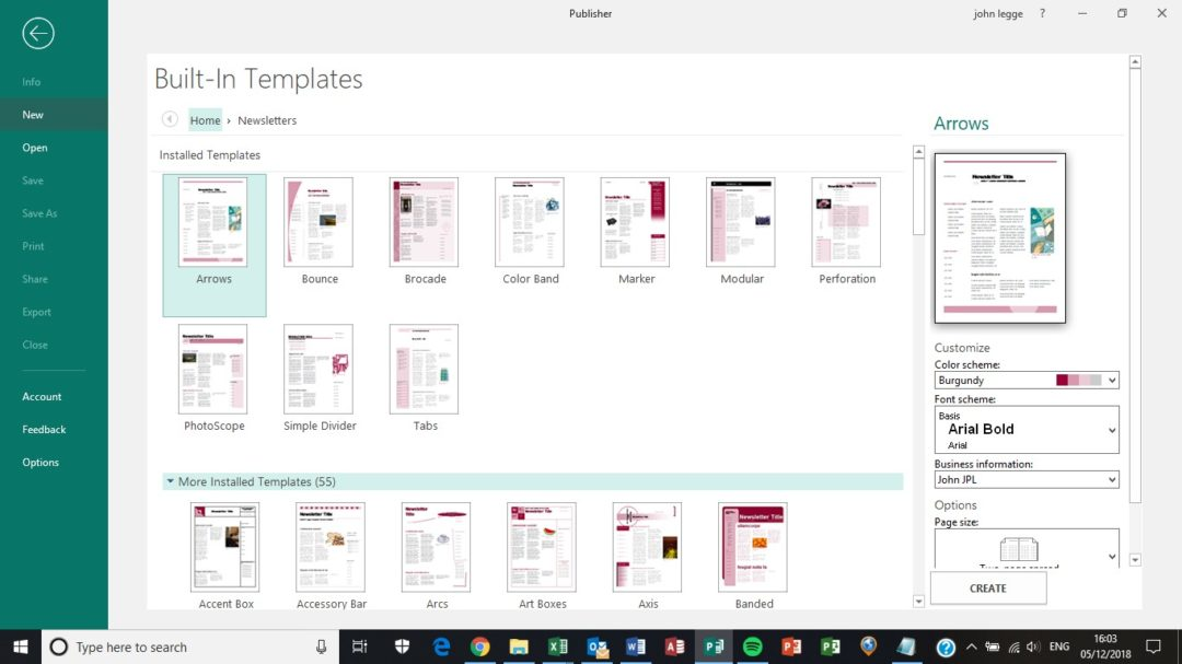 Publisher page sizes - newsletter template screen shot