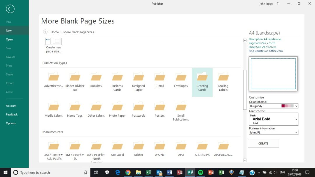 Publisher page sizes - screen shot of publication types