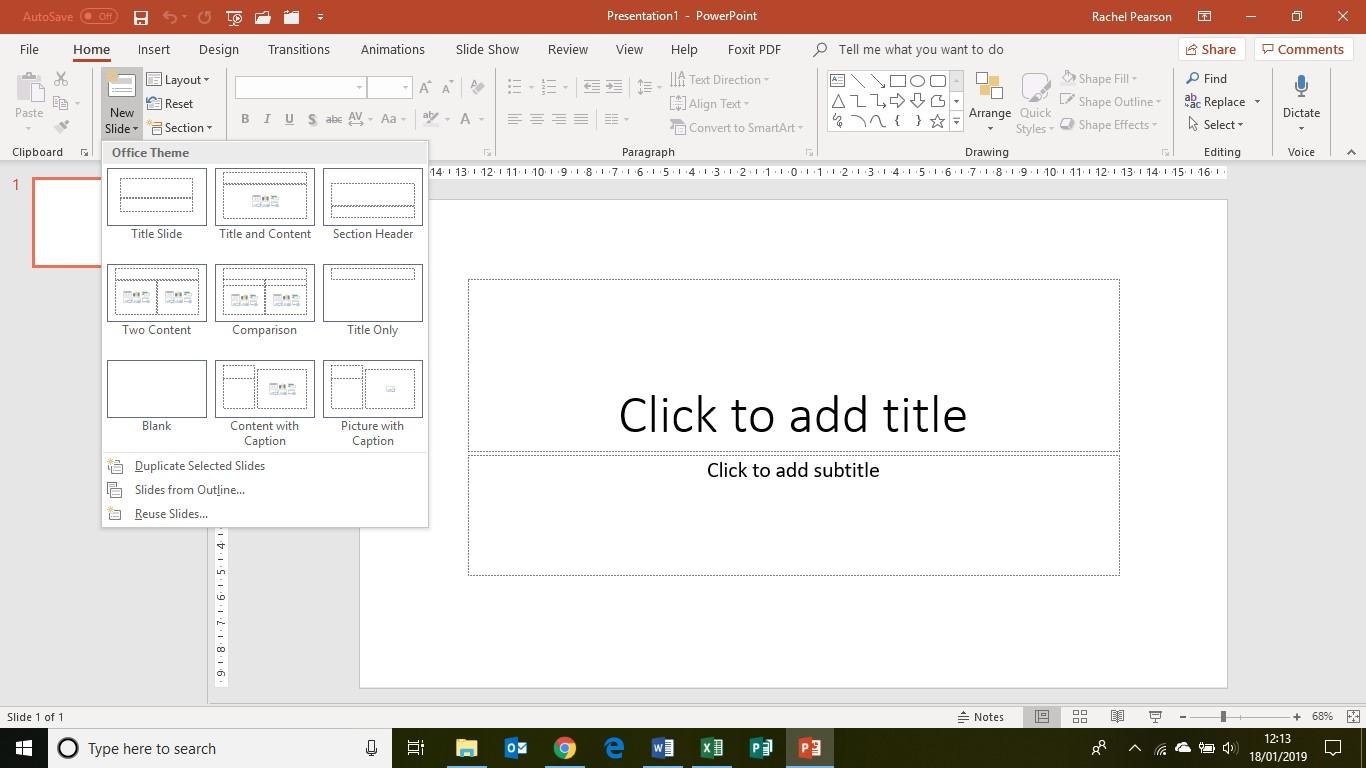 PowerPoint basics slides - new slide button