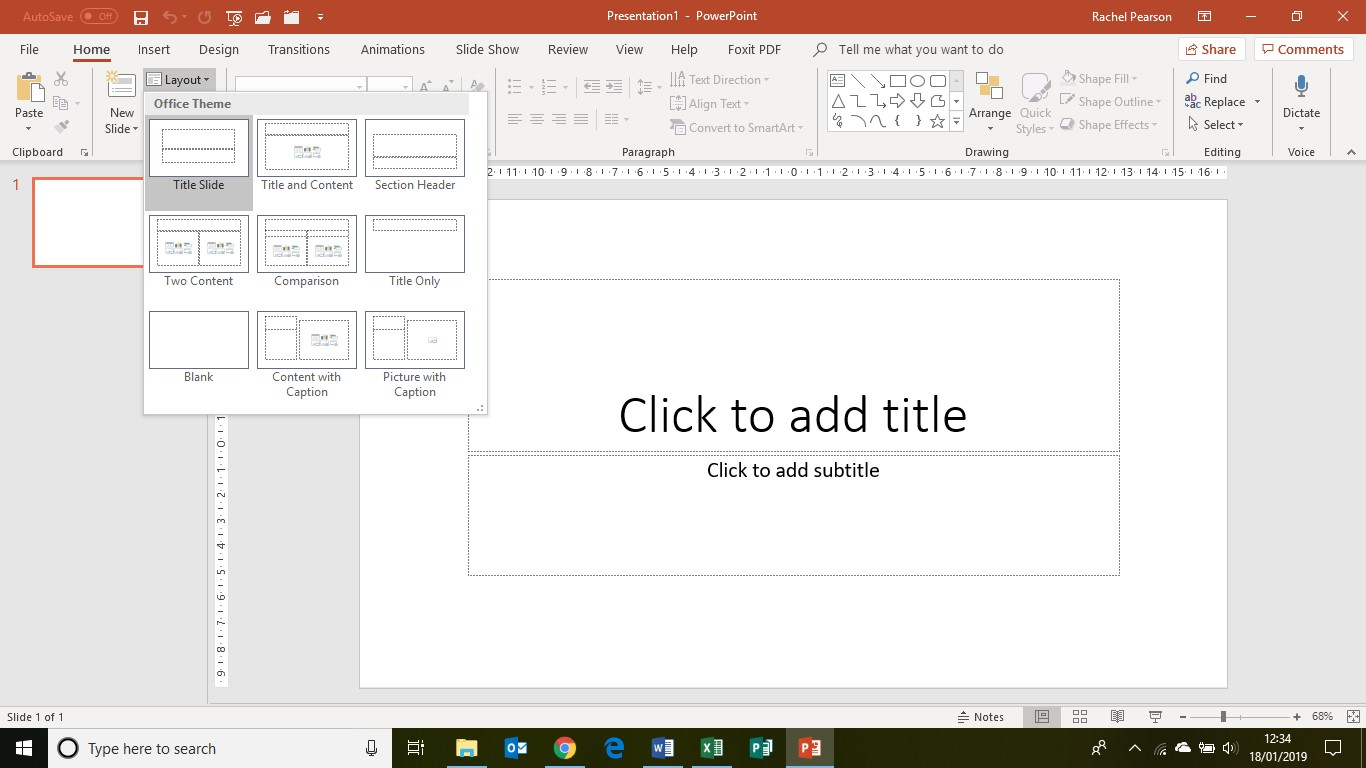 PowerPoint basics slides - top part of button