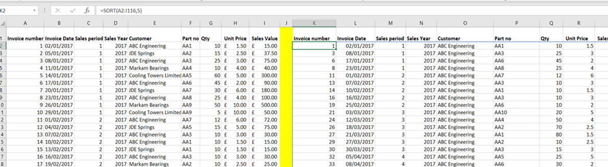 SORT Function in Excel: SORT function and data