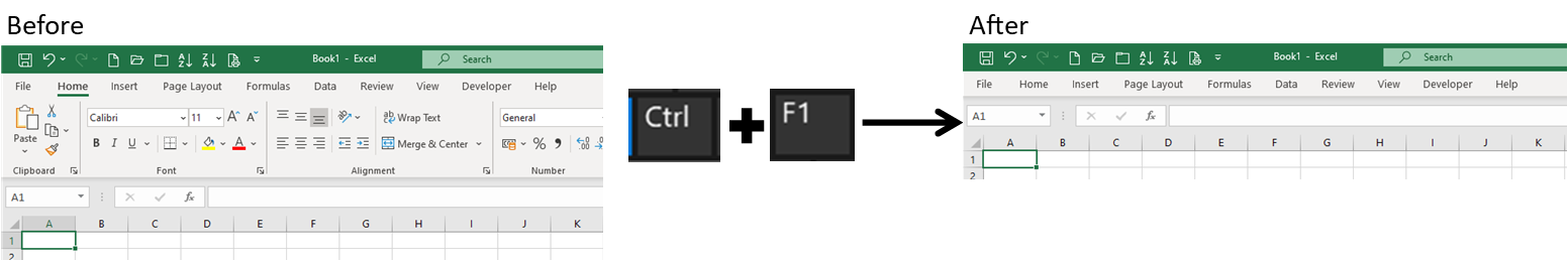 Excel shortcuts part 1: Ctrl and F1 key hides ribbon in Excel