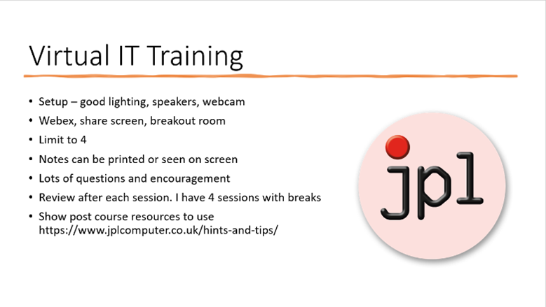 Virtual IT Training: PowerPoint slide of summary points