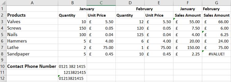 Excel green triangle errors: screenshot of worksheet
