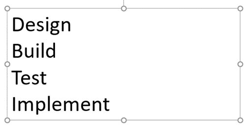 PowerPoint useful features part 1: slide with 4 lines of text