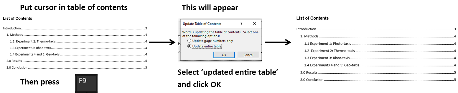Putting cursor in table of contents and pressing F9 key to update it