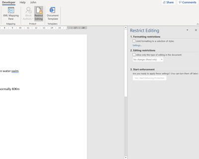 Word Documents Protection: Step 2 developer tab restrict editing image