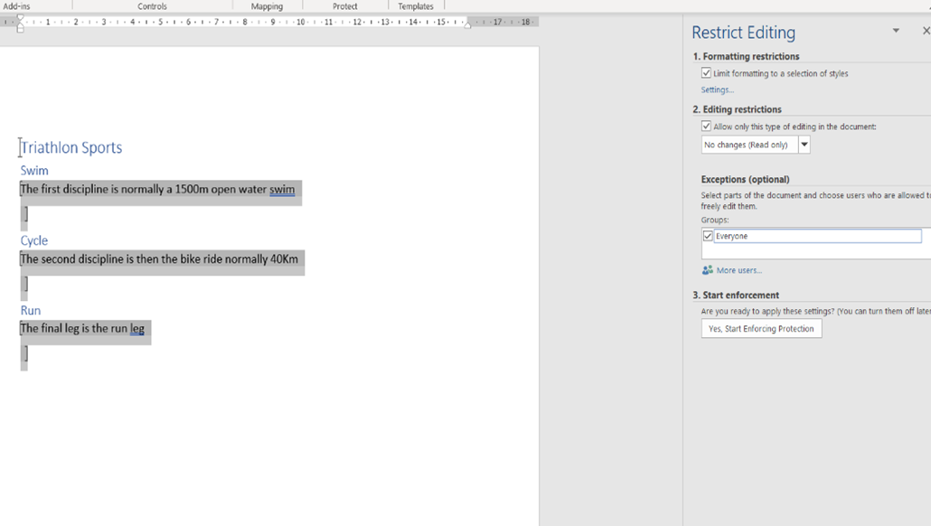 Restrict editing step 3 more settings options