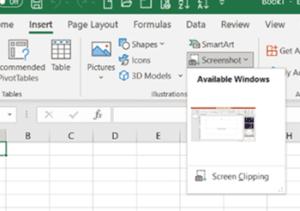 Common Office 365 features: insert screen clipping screenshot