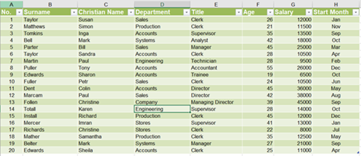 Common Office 365 features: example of a table screenshot