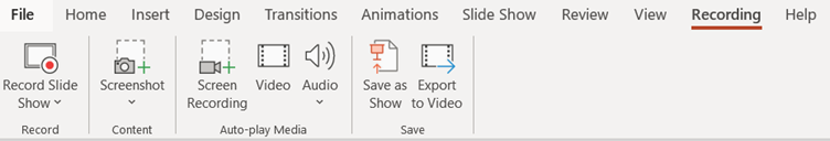 Screenshot of the Recording Tab in PowerPoint
