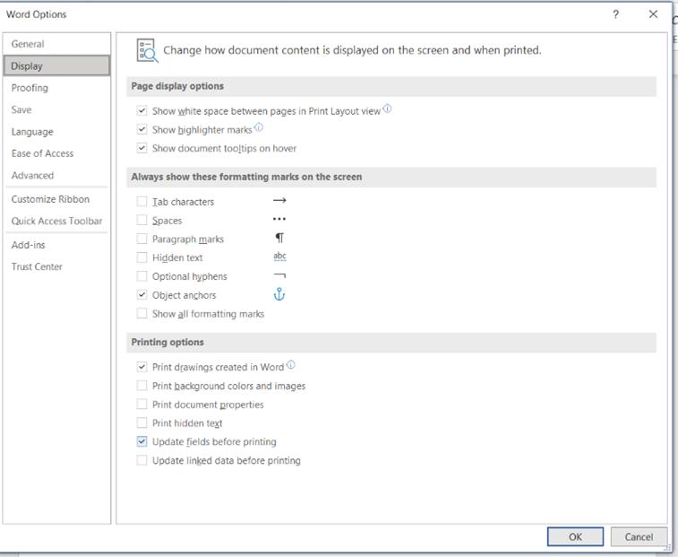 Custom printing in Word - Word options screenshot